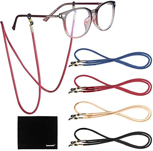 4 Pack Eyeglasses Holder Strap Cord Tomorotec Eyeglass Retainer PREMIUM PU LEATHER Eyeglasses product image