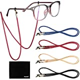 [4 Pack] Eyeglasses Holder Strap Cord, Tomorotec Eyeglass Retainer, PREMIUM PU LEATHER Eyeglasses String Holder Chain Necklace, Glasses Cord Lanyard with Free Microfiber Cleaning Cloths (4 Colors)