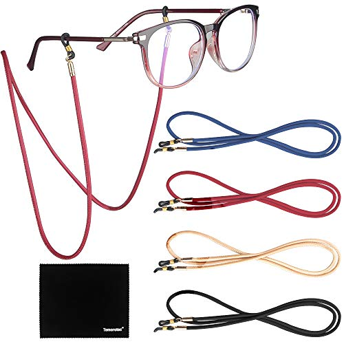 Paquete de 4 correas para anteojos, Tomorotec retenedor de anteojos, piel sintética de alta calidad para anteojos, collar de cadena de cordón para anteojos, cordón para anteojos...