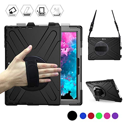 Microsoft Surface Pro 7 / Pro 6 / Pro 5 / Pro 2017 / Pro 4 / Pro LTE Case, Protective Rugged Cover Case w/Pen Holder Hand Strap Rotating Kickstand Shoulder Strap, Rugged Shockproof Silicone Case Black
