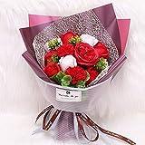 ソープフラワー フラワーギフト バラ カーネーション 花束 誕生日プレゼント ギフト 結婚記念日 女性 人気プレゼント 母の日 先生の日 送別会 造花 カード付き ボックス入り レッド