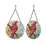 Liffy Cardinals Glass Suncatcher Mosaic Hanging Decorations for Window,Garden,Door and Table (8 Inch/Set of 2 )