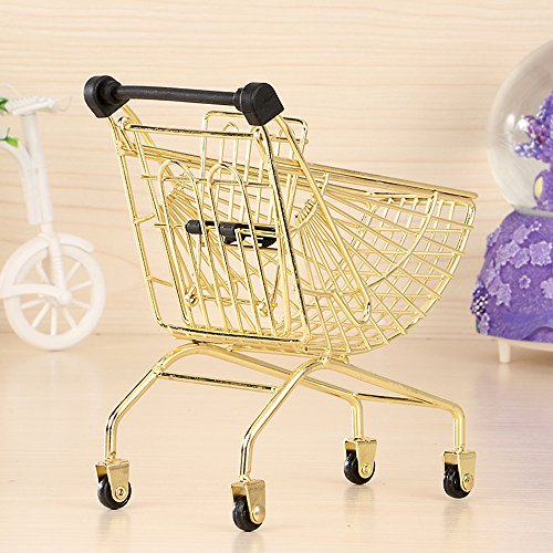 wgg Mini Metal Shopping Cart Supermarket Handcart Trolley, Table Office Novelty Decoration, Creative Storage Tools (Gold, Fan-Shaped)