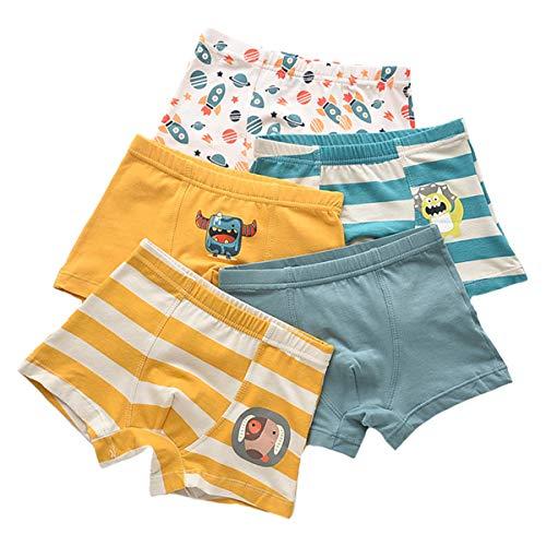 Kinder Junge 5 Pack Pantys Boxer Unterhose Cartoon Print Panty Unterwäsche Schlüpfer Boxershorts (5-6 Jahre, Mix Color-P)