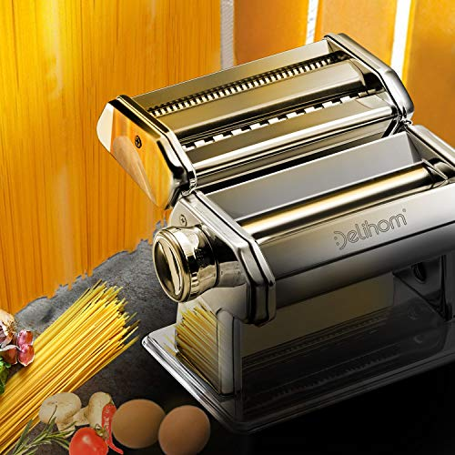 Delihom Pasta Maker Stainless Steel Pasta Machine, Cutter, Hand Crank, Clamp and Clean Brush for Homemade Spaghetti and Fettuccini
