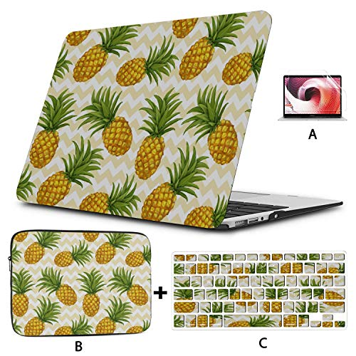 Mac Laptop Cover Seamless with Pineapple in Vect MacBook Air Skin Hard Shell Mac Air 11'/13' Pro 13'/15'/16' with Notebook Sleeve Bag for MacBook 2008-2020 Version