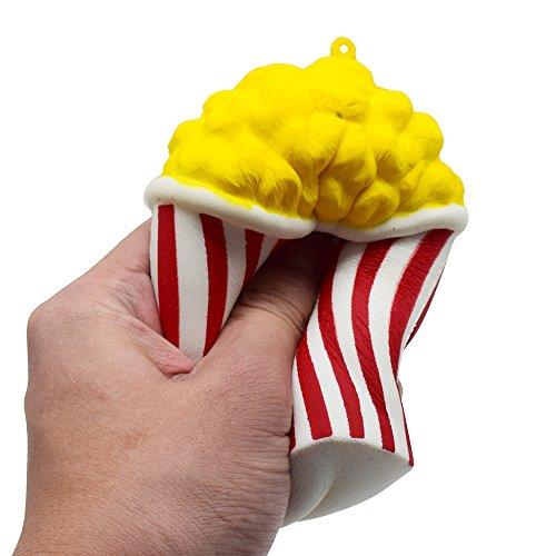 TWIFER Squeeze Popcorn Cup Squishy Langsam steigende Dekompression Ostern Phone Strap (8.5 x 8.5 x 12cm, Rot)