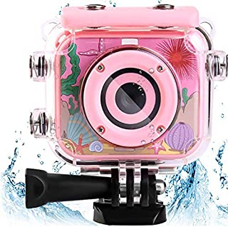 AMERTEER Waterproof Kids Camera with 2.0 Inch LCD Display 12MP Photo Resolution & 1080P Video Resolution Underwater Children's Camera for 4-12 Boy Birthday/ Festive Gifts (pink)