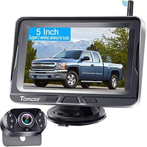 Caméra de recul sans fil pour voiture avec écran de 5 pouces,système de caméra de recul sans fil HD 1080P pour voiture,camion,SUV,berline,supportant l'ajout d'une deuxième caméra pour...