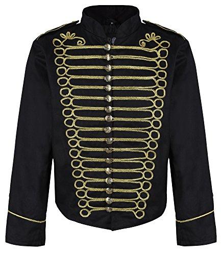 Ro Rox Herren Steampunk Napoleon Offizier Parade Jacke - Schwarz & Gold (Herren XXL)