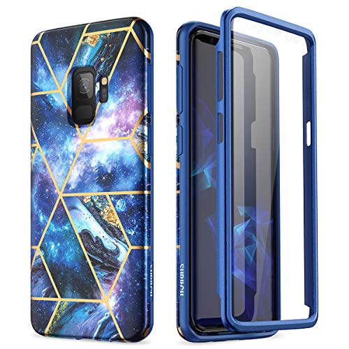 SURITCH Case for Galaxy S9, [Built-in Screen Protector] Natural Marble Full-Body Protection Shockproof Rugged Bumper Protective Cover for Samsung Galaxy S9 5.8 Inch (Space Blue)