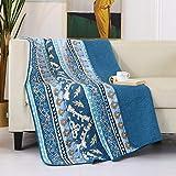 Qucover Tagesdecke 140x200cm für Einzelbett, Blau Decke aus Baumwolle, Bettüberwurf 150x200cm, Boho Sofaüberwurf, Gesteppt und Wattiert, Indischer Stil
