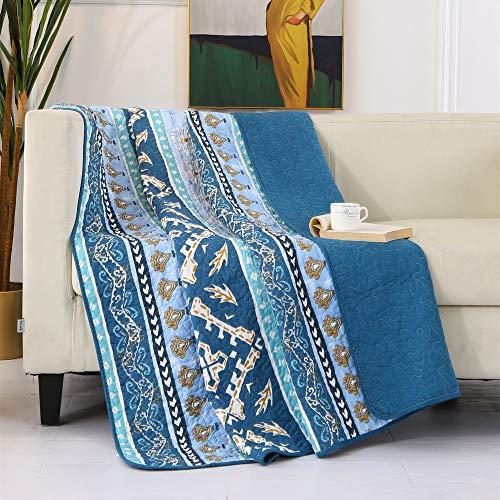 Qucover Copriletto Trapuntato Singolo 150x200 cm, Trapuntino in Cotone per Una Piazza Stile Boho Blu