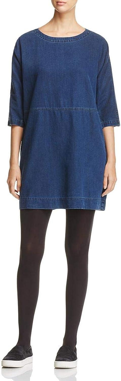EileenFisher Womens Petites Denim Scoop Neck Shirtdress