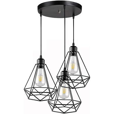 3 Lampes suspension industrielle vintage Métal Lustre Suspension Style Cage Géométrique E27 Lampe Suspension Vintage - Noir