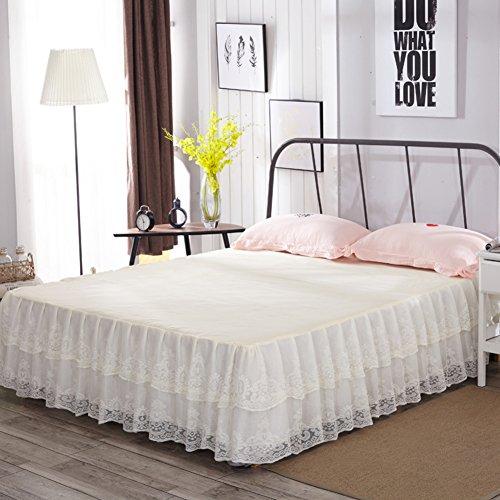 LAOSXNZHE Bettrock Tagesdecke Bett Sets Protector Einzigen Spitze Rüschen Anti-Schleudern-C 200x220cm(79x87inch)