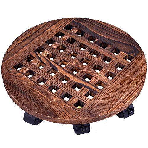 Cobeky - Maceta de madera con ruedas para macetas y macetas redondas para interiores y exteriores, con ruedas giratorias de 360 grados