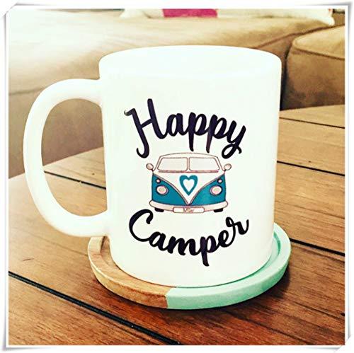 N\A Happy Camper Bus Mug Camper Bus Mug Camping Camping Mugs Mugs Bus Mugs Happer Camper Ideas de Regalos Tazas de café para campistas, Taza de café de cerámica/Taza 11oz