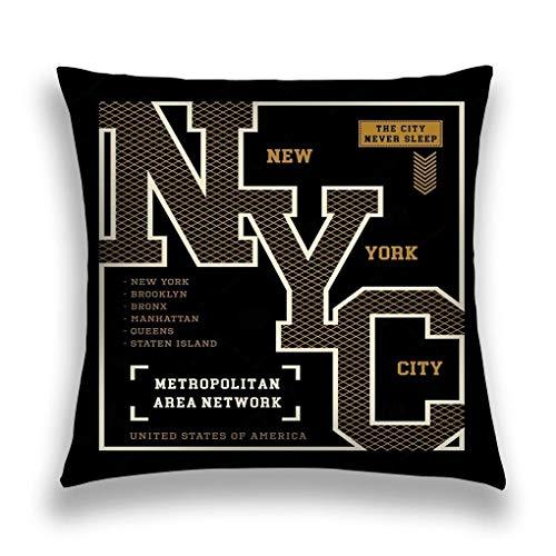 sherry-shop Funda de Almohada Funda de Almohada Ciudad de Nueva York Diseño de tipografía Imágenes gráficas Sofá Funda de cojín Decorativa para el hogar 20X20IN