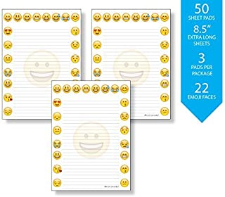 3 Pack of Emoji Pads, 8.5 x 6.1 Notepads Full of Emoji Faces, To Express your Feelings, and Brighten up your Day, 50 Sheet...