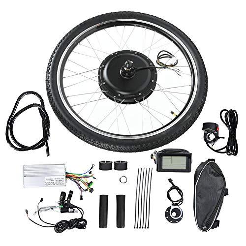 【Especial de Año Nuevo 2021】Kit de motor de bicicleta eléctrica, kit de conversión de motor de bicicleta 36V 500W Acelerador de pulgar/freno Juego de motor de bicicleta eléctrica negro con medidor LCD