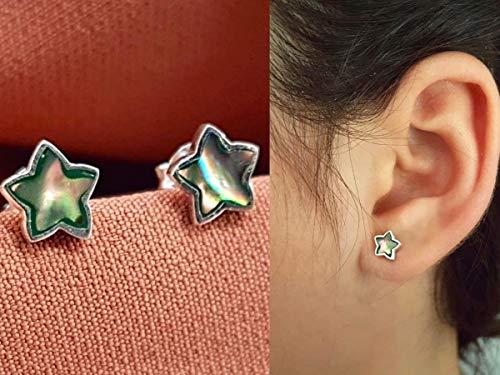 Brinco Estrela Confeccionado Em Prata Pura 925 Com Pedra Abalone - 4110