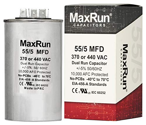 MAXRUN 55+5 MFD uf 370 or 440 Volt VAC Round Dual Run Capacitor for Air Conditioner or Heat Pump Condenser - 55/5 Microfarad Runs AC Motor and Fan - 5 Year Warranty