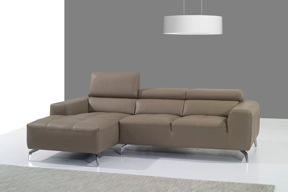 J and M Furniture Italian Leather Sectional Chaise in Burlywood, Left Hand Facing