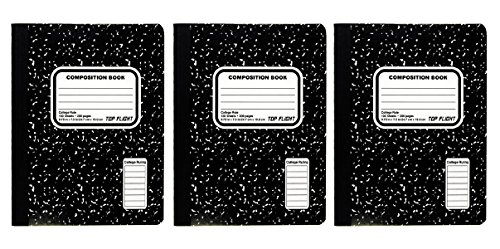 Top Flight Sewn Marble Composition Notebook, Black/White, College Rule, 9.75 x 7.5 Inches, 100 Sheets Ea - Pack of 3