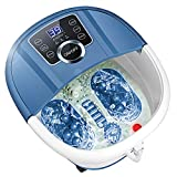 Foot Bath Spa Massager with Heat Bubbles,Pedicure Spa Soaker 16 Motorized Shiatsu Roller Massaging Acupuncture Point, Frequency Conversion, Adjustable Time & Temperature, LED Display Touch-Key