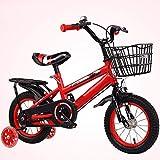 YALIXI Bicicleta para niños, Bicicleta para niños de 14 Pulgadas para niños y niñas, Ruedas auxiliares de Flash y Frenos Delanteros y Traseros, Marco del Asiento Trasero, Canasta de Hierro,Rojo