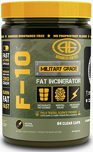 Advanced Genetics F-10, Fat Loss System, Green Tea Extract, Raspberry Ketones, Caffeine, Synephrine, Appetite Suppression, Energy, 84 caps
