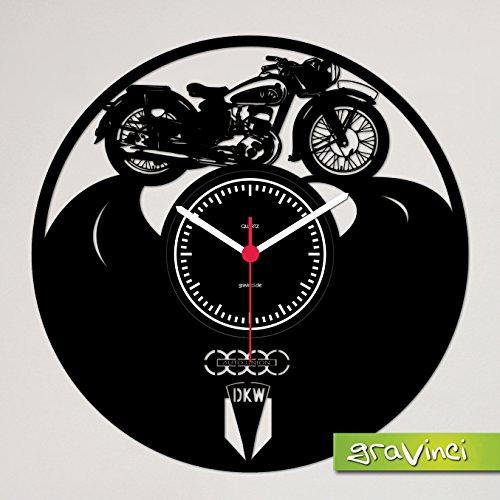 Gravinci.de Plaat Wandklok DKW Motorfiets