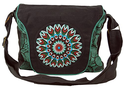 Guru-Shop Schultertasche, Hippie Tasche, Goa Tasche, Umhängetasche, Handtasche - Schwarz/blau, Herren/Damen, Baumwolle, Size:One Size, 22x28x6 cm, Alternative Umhängetasche, Handtasche aus Stoff