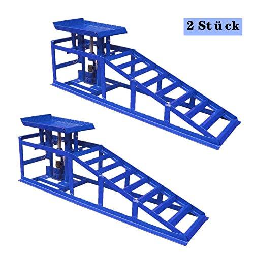 Hengda 2 Stück Hebebühne KFZ Rampe PKW Auffahrrampe mit hydraulischem Wagenheber Hebeplattform Höhenverstellbar Laderampe Reifenbreite bis 225