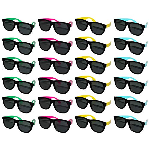 BELLE VOUS Black Sunglasses (24 Pack) – Blue, Pink, Yellow, Green – Neon Colored Temples – Unisex Party Sunglass – Eyewear for Summer Fashion, Beach Pool Party Favor – Sunglasses for Adults and Kids