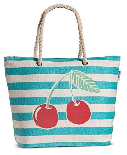 Tasche Damen Shopper Bast Beach Strandtasche Kirschen gestreift mit Obst-Motiv