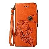 COOSTOREEU Funda LG X Power, Retro Floral en Relieve Florals PU Leather Flip Cartera Magnética con Ranuras de Tarjeta + Desmontable Correa de Muñeca Diseño de la Caja para LG X Power, Naranja