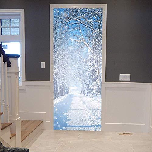 Pegatinas de puerta 3D, pegatinas de arte mural autoadhesivas, dormitorio, sala de estar, oficina, baño, decoración del hogar, escena de nieve