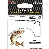 Autain 9335BL - Anzuelo para pesca de trucha (tarjeta de 10), fluorocarbono, montados a mano, N°8 - 0.18mm