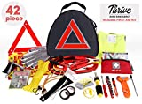 Thrive Roadside Assistance Auto Emergency Kit + First Aid Kit – Triangle Bag - Contains Jumper Cables, Tools, Reflective Safety Triangle More. Ideal Winter Accessory Your car, Truck, Camper jumper cables Oct, 2020
