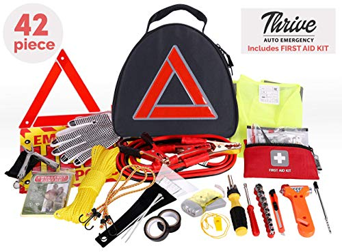 Thrive Car Emergency Kit with Jumper Cables + First Aid Kit | Car Accessories | Roadside Assistance & Survival | Rugged Car Tool Kit Bag, Reflective Safety Triangle and More | Road Trip Essentials