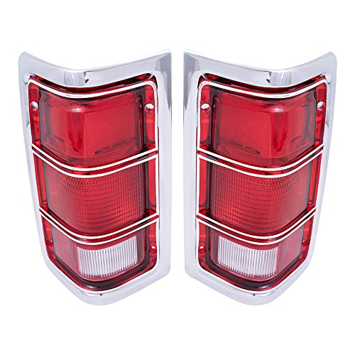 Replacement Set Driver and Passenger Taillights Chrome Trim and Housing Compatible with 1981-1993 Ram Pickup Ramcharger 4163151 4163150