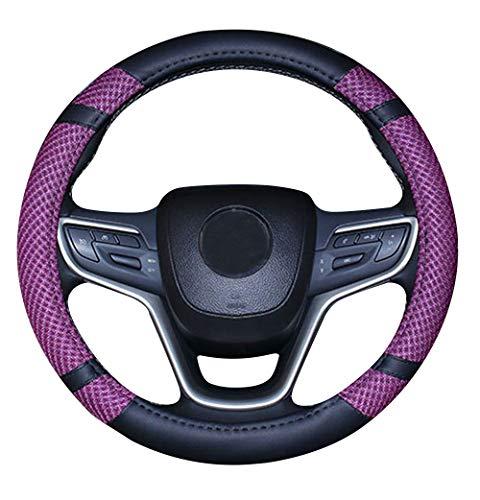 Unisexe de Sport Style Contraste Couleur antid/érapant Sweat Respirant PU 38 cm en Similicuir caches de Volant de Voiture Violet
