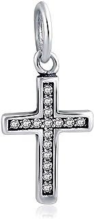 KUSTOM FACTORY - Charm a forma di croce, argento e zirconi per Pandora