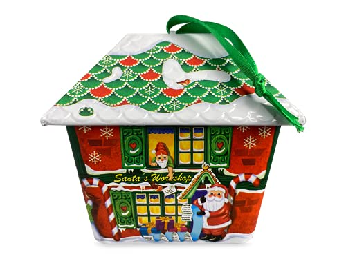 """Scatola di latta a forma di piccola casa """"Santa Haus"""" con gancio per appendere biscotti, contenitore per cioccolatini, ca. 11 x 8,5 x 9,5 cm, capacità: 200 ml"""