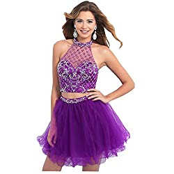 Custom Made Jewel Halter Short Purple Dress With Rhinestone