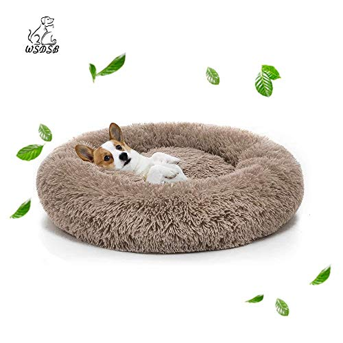WSDSB Round Donut Cat and Dog Cushion Bed, Orthopedic Relief, Self-Warming and Cozy for Improved Sleep, Water-Resistant BottomM