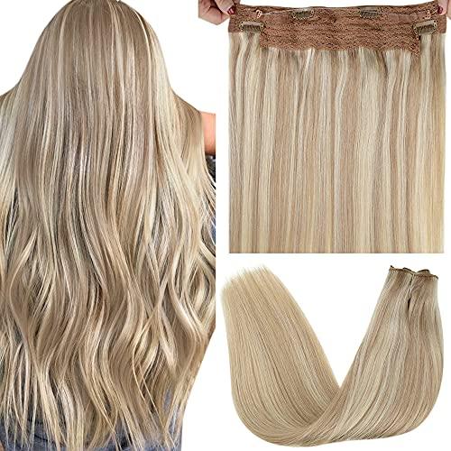 Fil Hair Extensions, LaaVoo Fil Cheveux Humain Extensions de Fil Cheveux Highlight Blonde Cendrée Mixte Bleach Blonde Hair Weft Fil Extension Cheveux Secret Crown Hair Extensions 80g 12Pouce