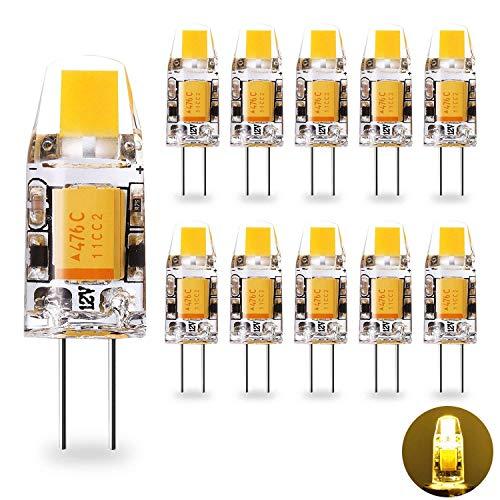 Yuiip G4 LED Lampe 1.2W Warmweiß 2700K COB Glühbirnen Ersatz für G4 10W Halogenlampen, 12V AC/DC, 360° Abstrahlwinkel, Kein Flackern G4 LED Leuchtmittel Birne, Nicht Dimmbar,10er Pack